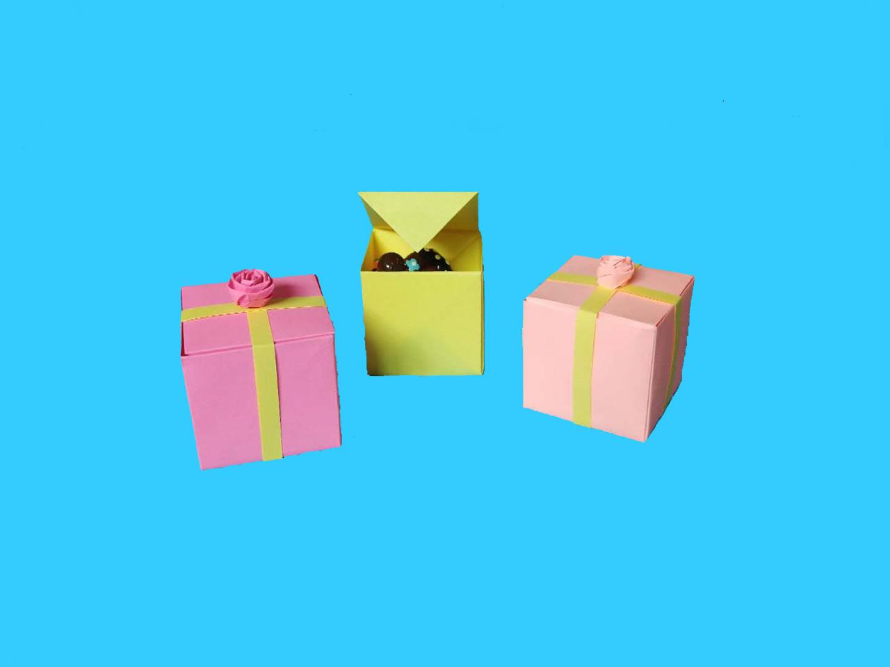 教你折纸方形带盖礼品收纳盒,简单又漂亮,手工折纸图解教程 家务 第10张