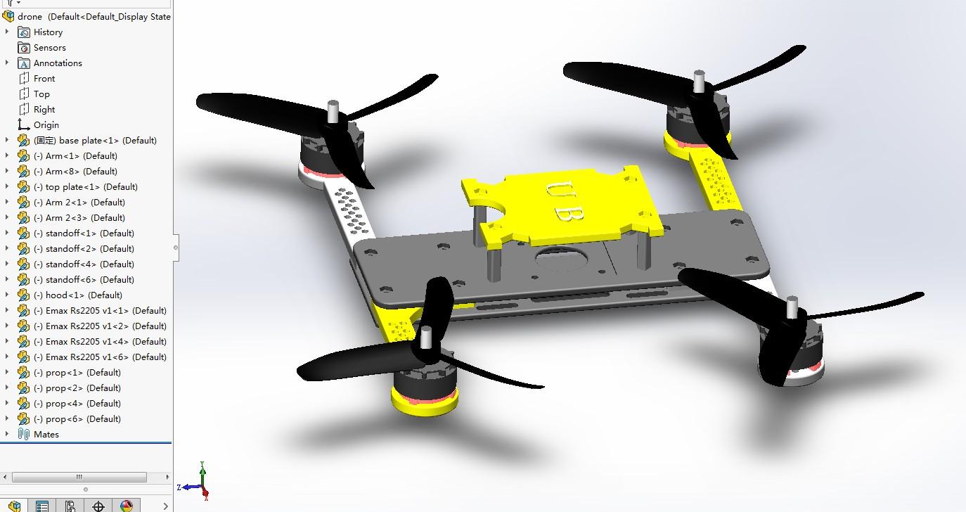 适合3D打印的简易四轴无人机框架3D图纸 Solidworks设计