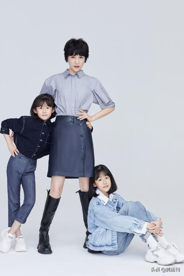 鲍蕾携俩女儿拍亲子照,贝儿眉眼张开更像爸爸陆毅,腿比妈妈还细