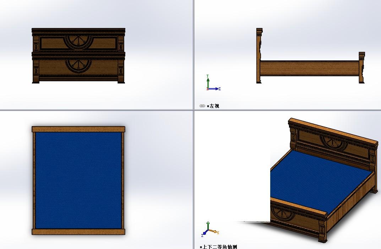 king size bed普通大床模型3D图纸 Solidworks设计