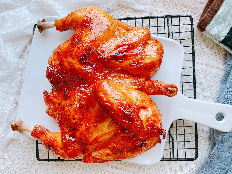 最简单的烤鸡,家里有烤箱的要试试,1个重点,皮酥肉嫩还爆汁