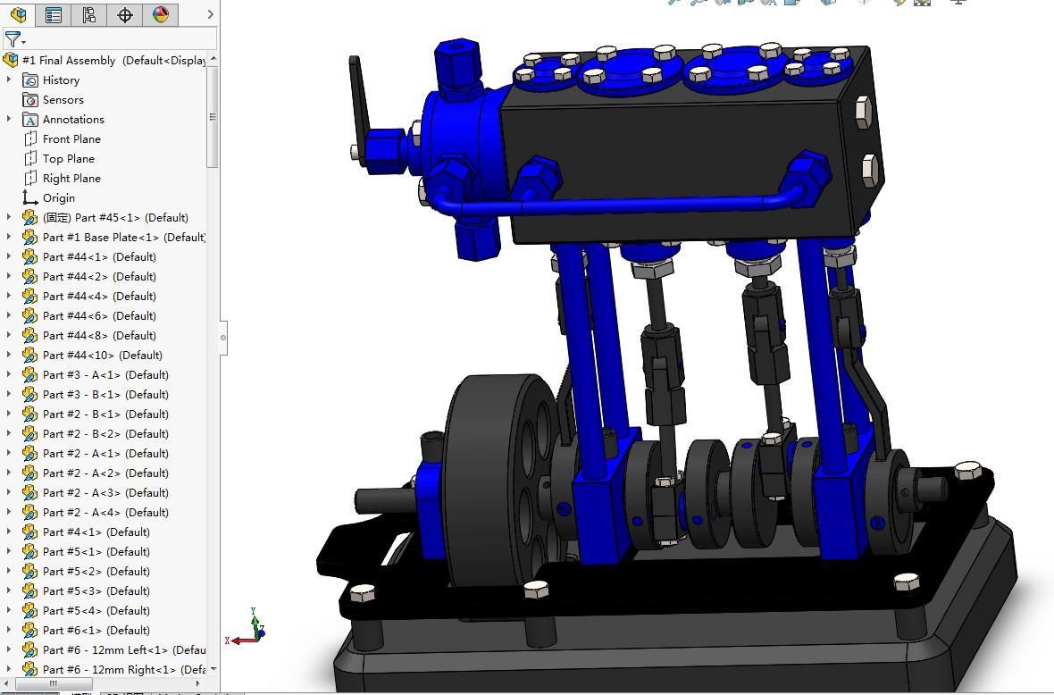 2缸立式船用蒸汽机演示结构3D图纸 Solidworks设计