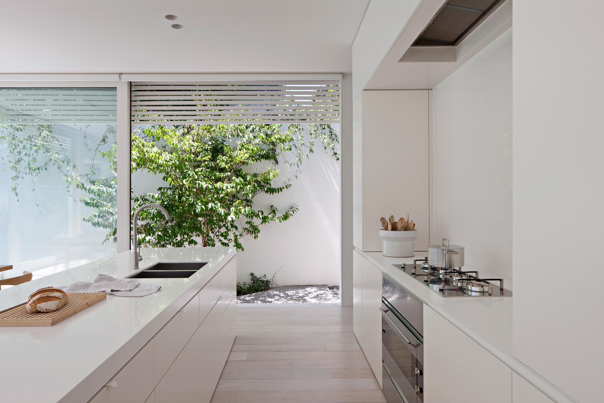 一座纯白的房子,将花园移到房屋中央,不再受行人熙熙攘攘的干扰