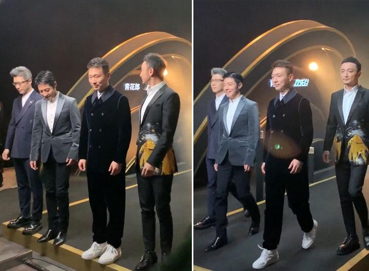 央视boys合体走秀,康辉罕见穿小白鞋,撒贝宁自信走出男模范