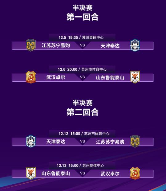 足协杯四强全部产生,武汉卓尔山东鲁能争夺决赛名额……