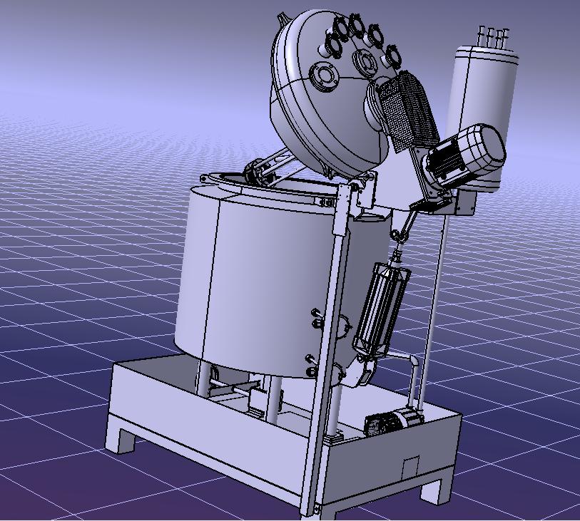 电加热试验搅拌机3D数模图纸 STP格式