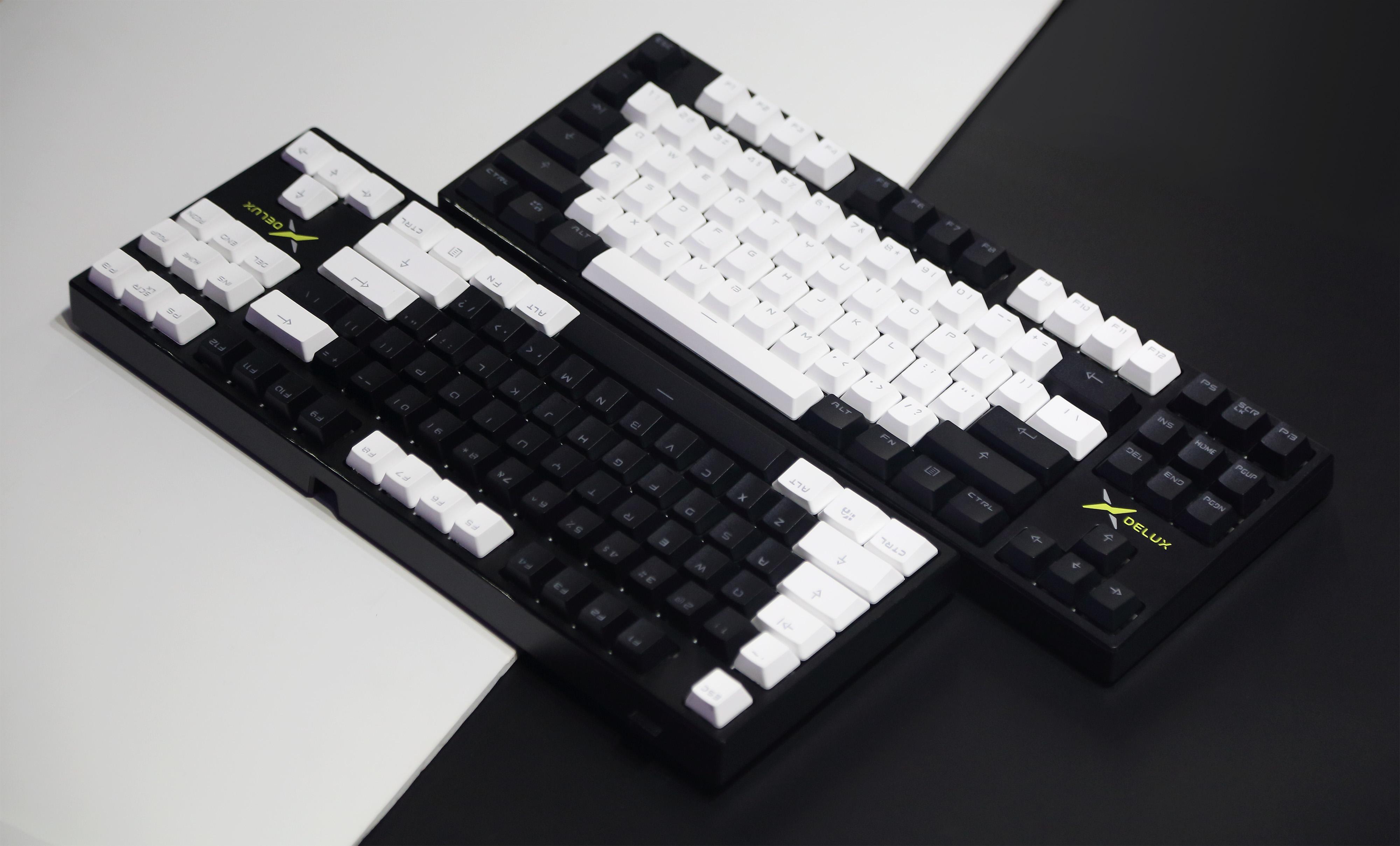 DELUX多彩KM13机械键盘,黑的白的粉的黄的带走你想要的