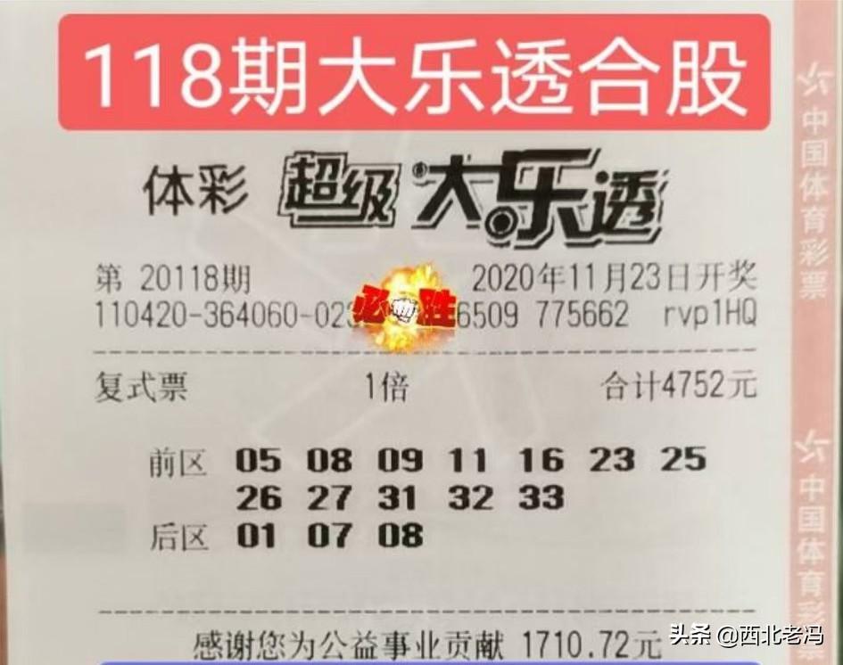 大乐透118期,合买复式票晒票,老彩民选号就是不一样!