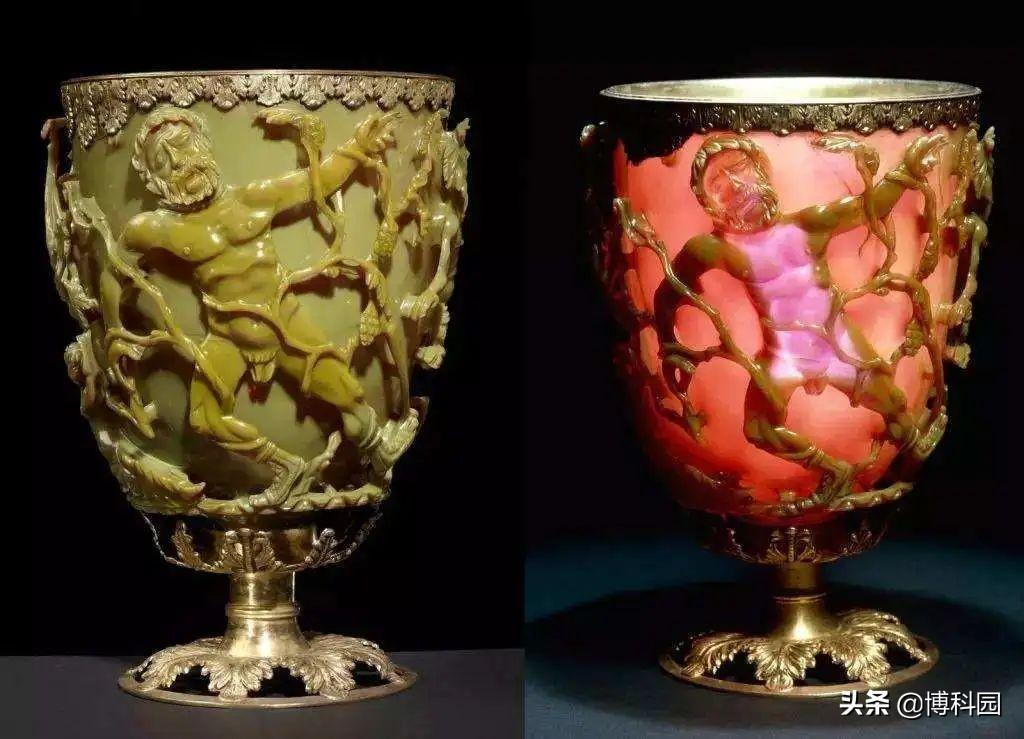 罗马有个神奇的杯子:光从前面照射是绿色的,从后面则是红色的!
