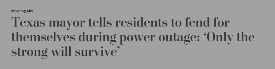 疫情之外美国又遭遇一史无前例大灾难,断交断电市民惨死,市长却还表态:弱者就该死