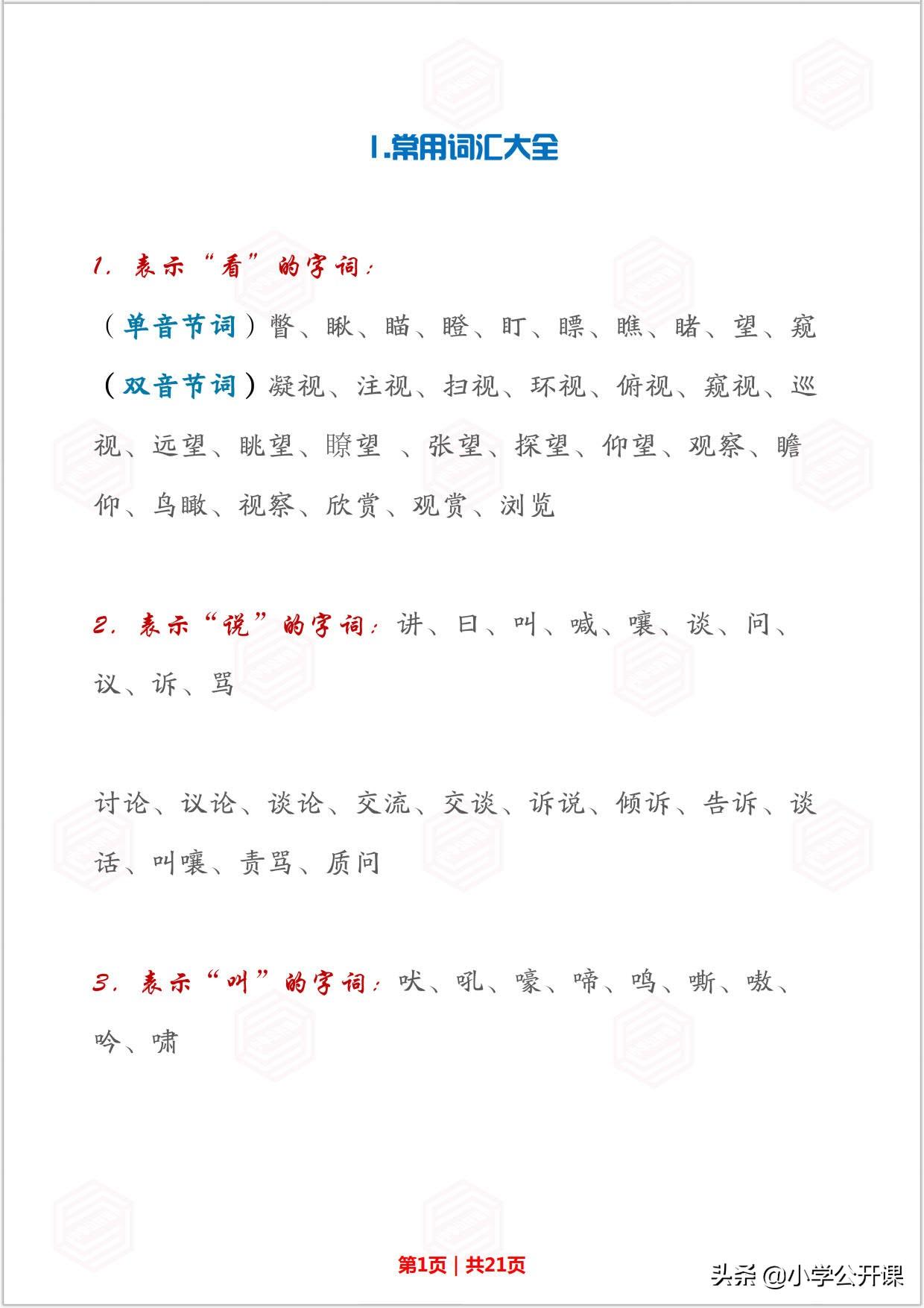 小学作文素材大全 常用成语、人物描写、比喻描写、名句名段
