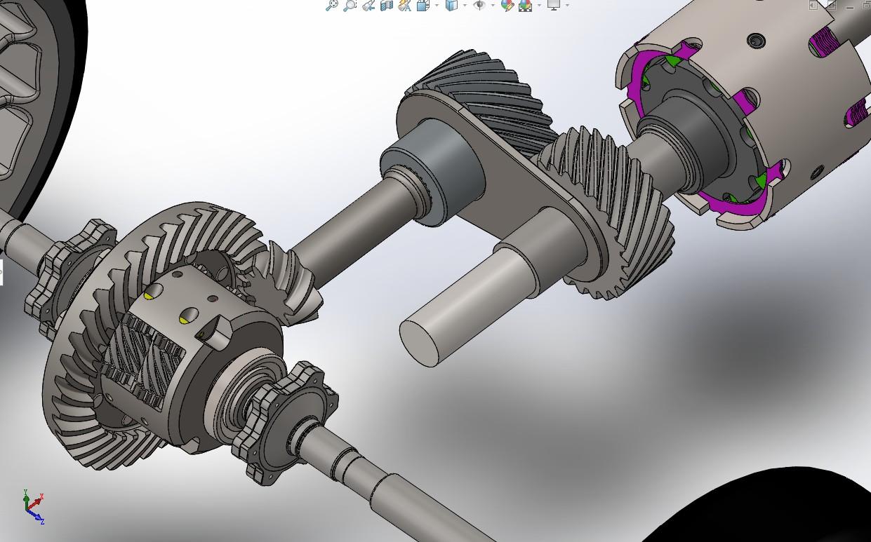 Quattro车辆底盘差速系统结构3D图纸 Solidworks设计