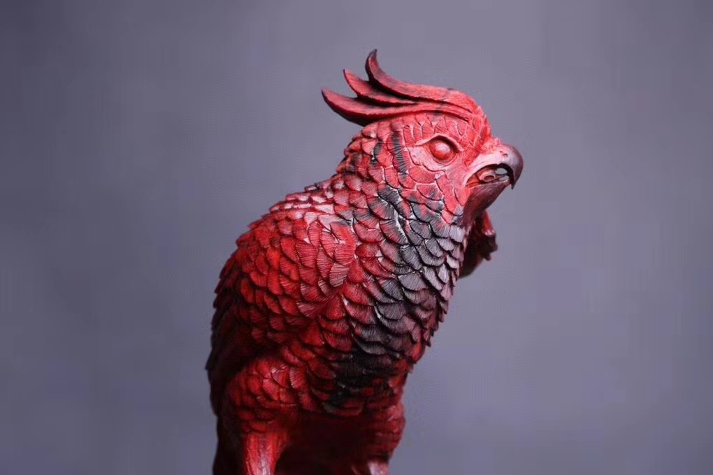 木雕鹦鹉!很有意思的小叶紫檀手工雕刻作品!