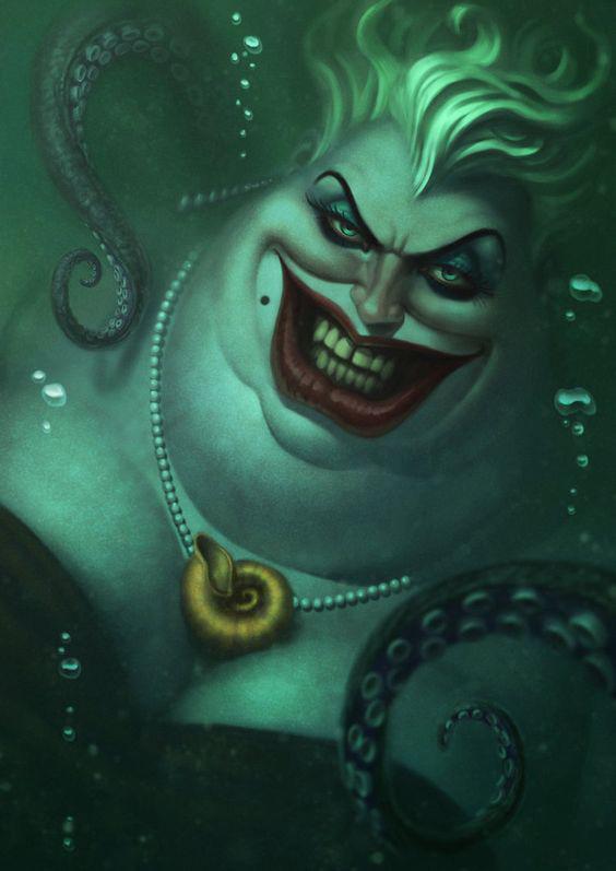 畫師筆下的迪士尼反派才叫真反派,烏蘇拉醜陋無比,巫婆陰森至極