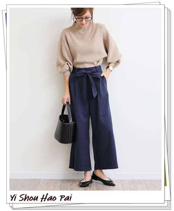 海军蓝阔腿裤的秋季搭配推荐!打造优雅、知性、轻熟的日系风