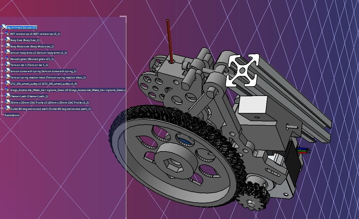 dag齿轮带式挤出机结构3D图纸 STEP IGES格式