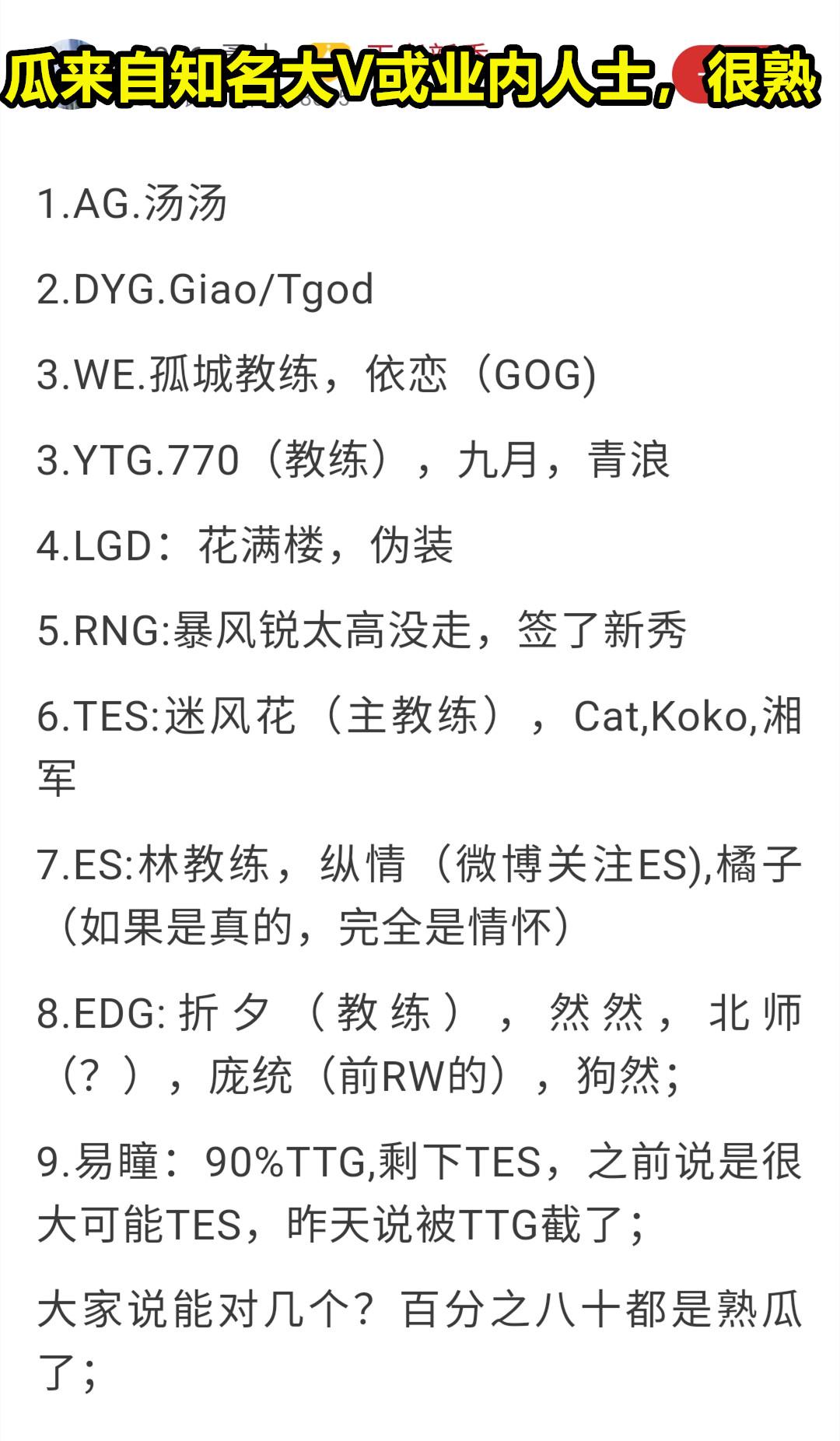 8.28转会瓜汇总:AG双胞胎,TES猫神、湘君,TTG易瞳