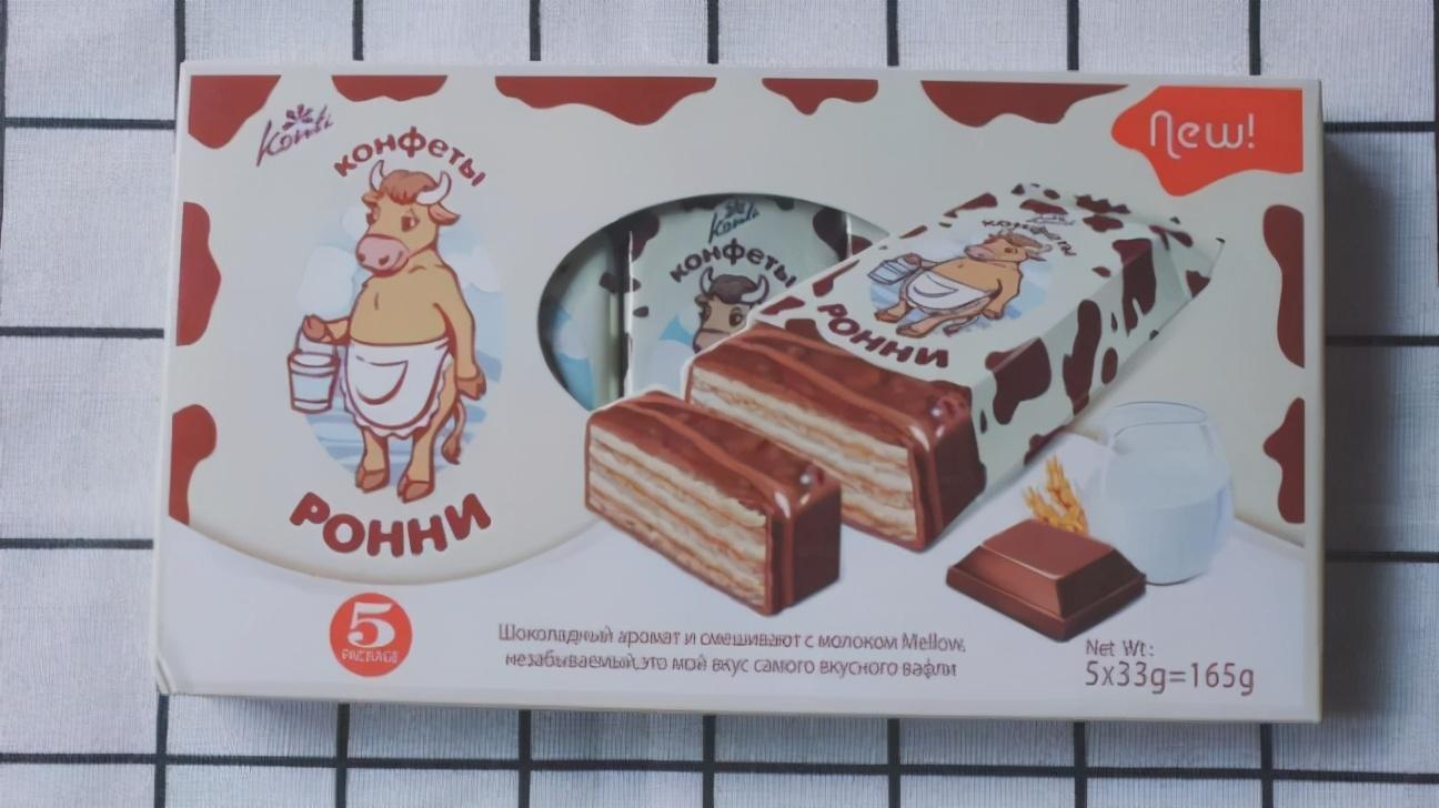 俄罗斯进口KONTI巧克力夹心威化饼干:康吉牌大奶牛
