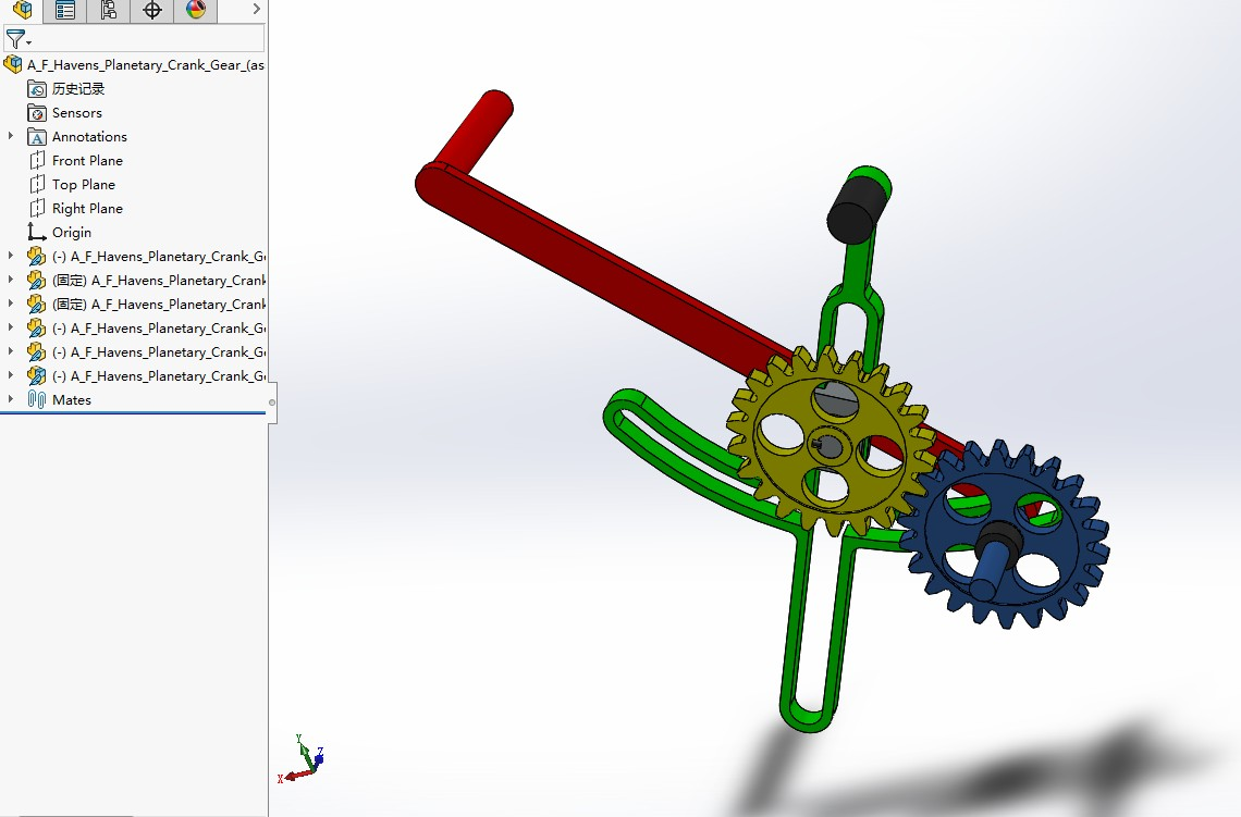 F-Havens行星曲柄齿轮机构3D图纸 Solidworks设计 附STP IGS