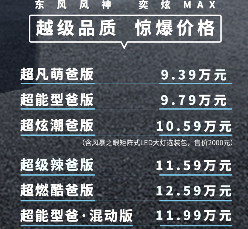 油电混动车型不到12万,东风风神奕炫MAX上市售9.39~12.59万元