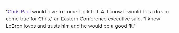 保羅聯手詹姆斯?聯盟經理看好詹姆斯推動湖人交易:因為CP3想回洛城!-籃球圈