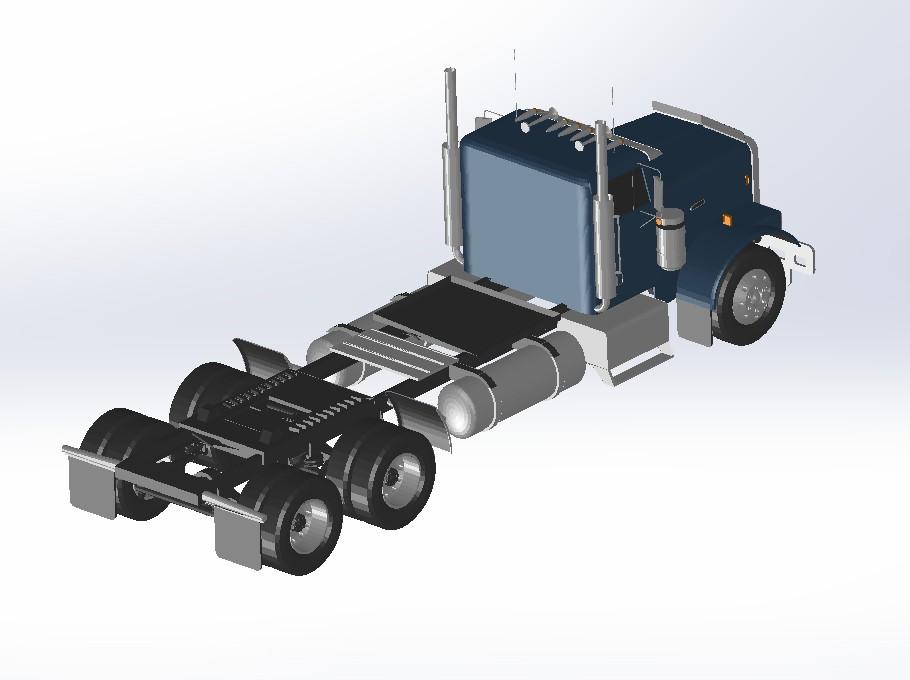 freightliner货运卡车模型3D图纸 Solidworks设计 附IGES格式