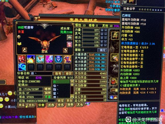 天龙怀旧服2703裸资质忠诚妖虎怎么打造?网友:加体力点做 PK绝了