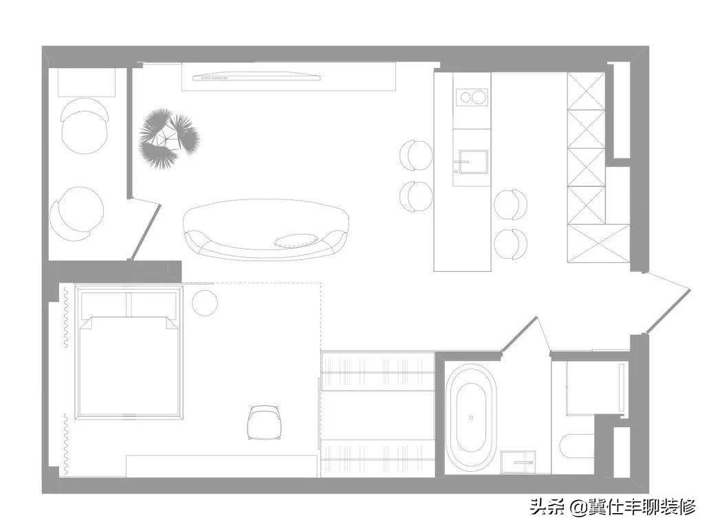 53㎡极简小宅,这么漂亮实用的卧室折叠门还是第一次见