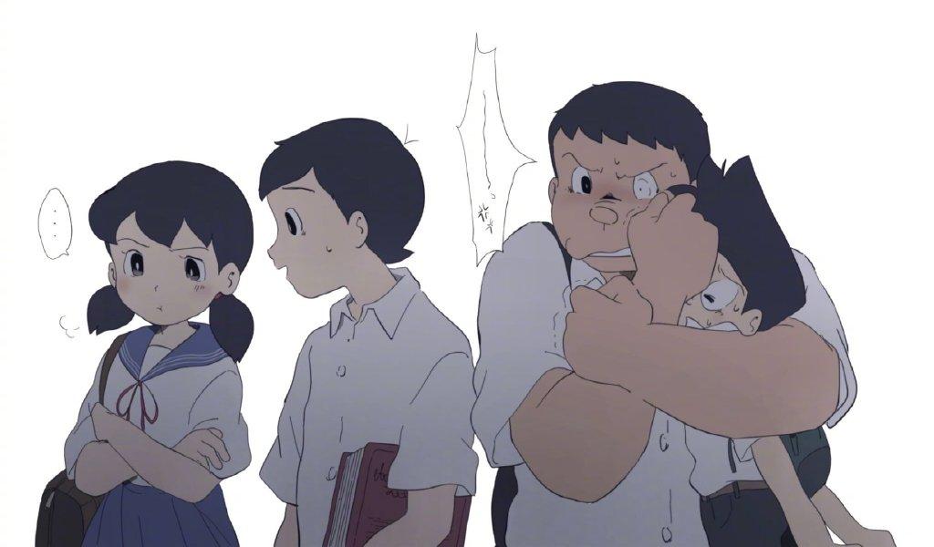 當哆啦A夢裡的諸位角色變成中學生,大雄受歡迎,靜香吃飛醋