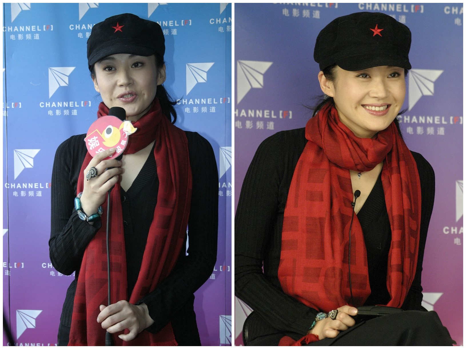 69年的许晴美成了小姑娘,红围巾配红星八角帽,灿笑如花太明艳