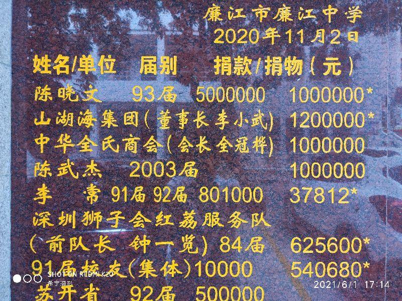 六一献礼:陈平、陈维萍夫妇为廉江中学捐资助学400万元