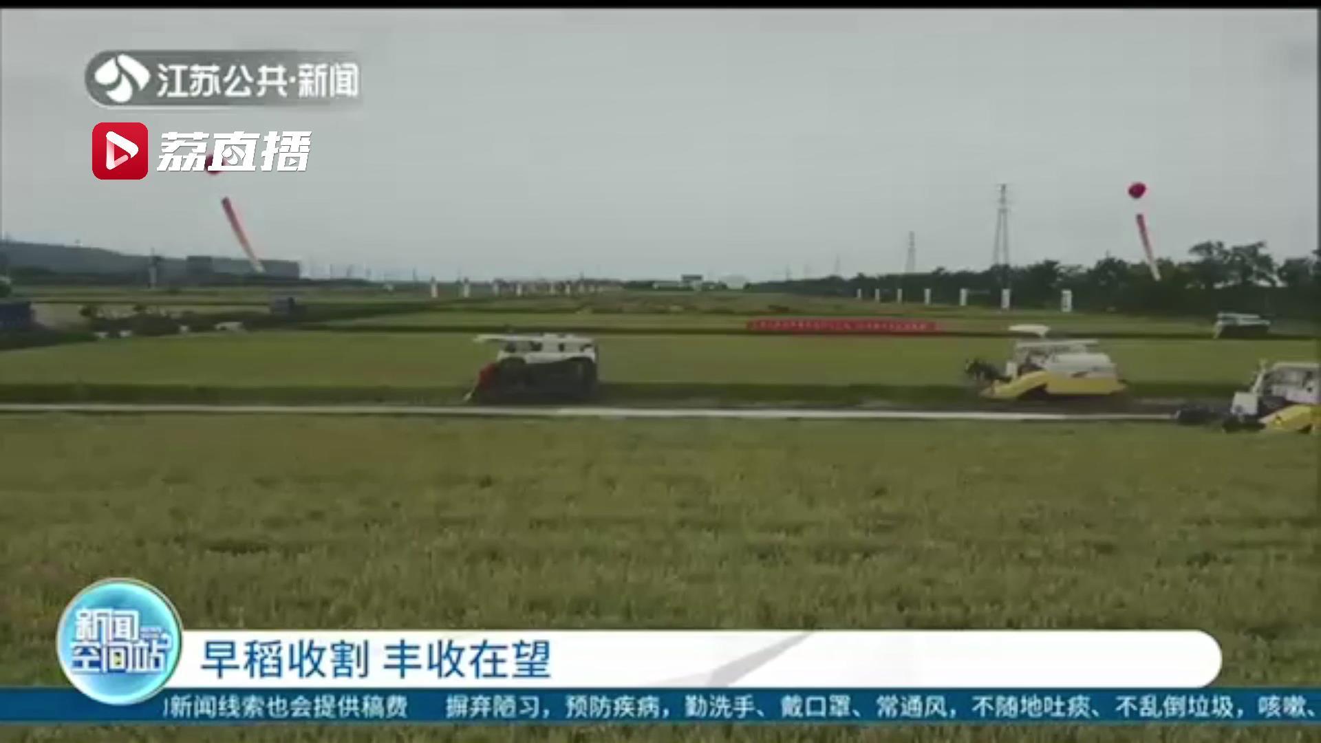 丰收在望!江苏多地早熟品种水稻开镰收割
