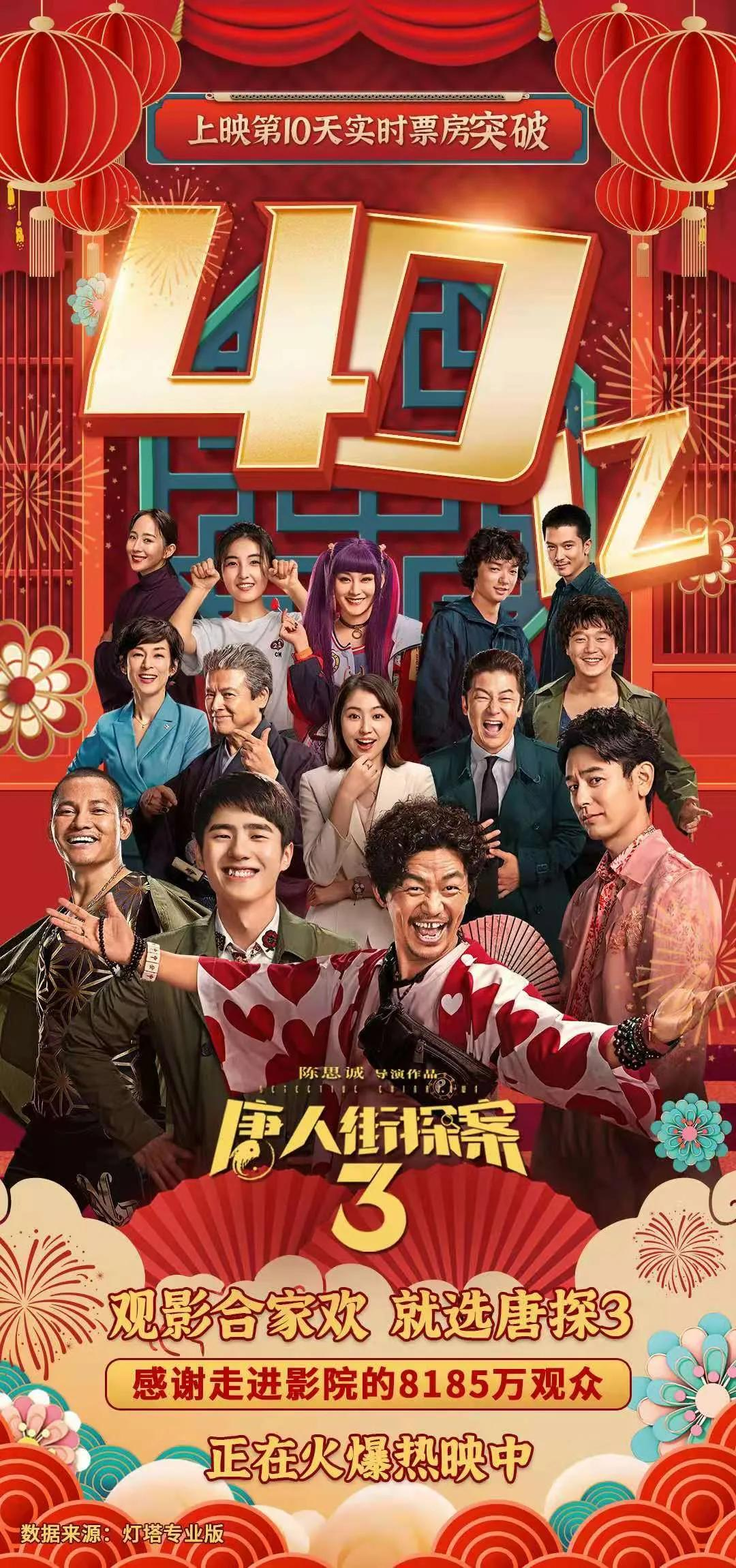 院线电影《唐人街探案3》《你好,李焕英》双双突破40亿票房