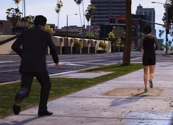 """测试《GTA5》的拟真效果,在路上跟踪""""慢跑小姐姐""""最后会去哪?"""