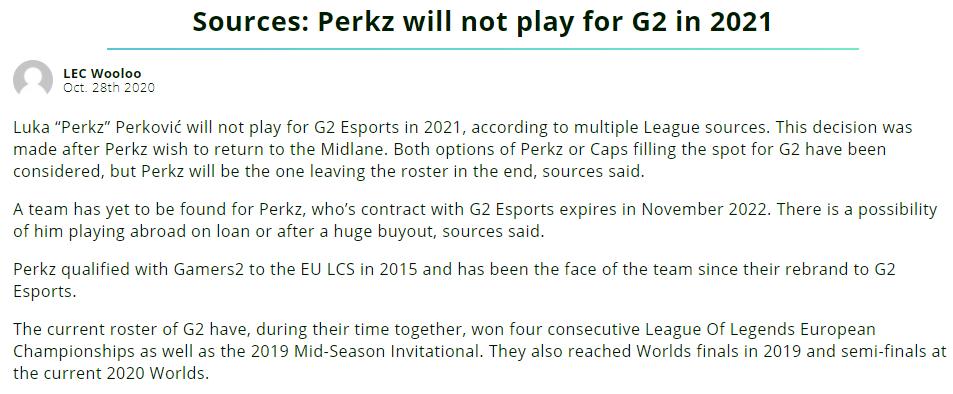 不想打AD了?Perkz明年或离开G2,FNC阿P正在连接?