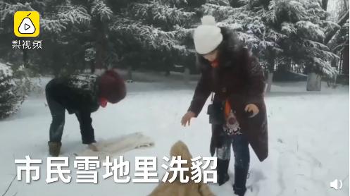 东北大妈用雪洗貂皮大衣 网友:学到了!现在就缺雪和貂了!
