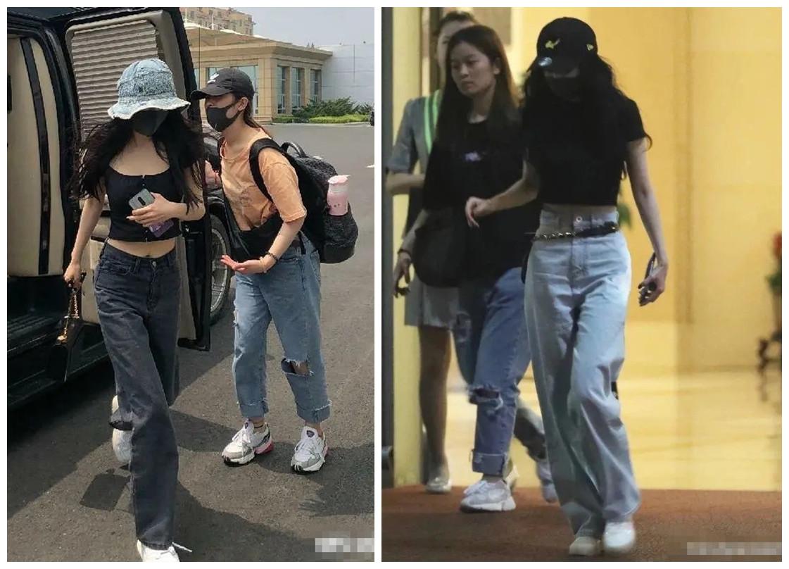 短上衣+高腰裤,杨幂轻松穿出好比例!为甚么到baby身上就失灵了