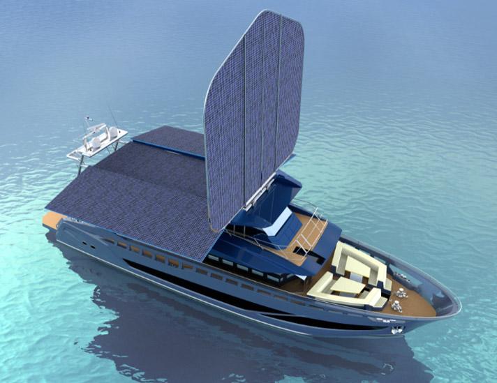 意大利FABIANI法比亚尼游艇经典100,有着一个灵活的大太阳能板