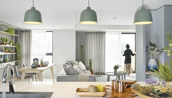 简约现代风格三房装修设计,客餐厅一体加开放式厨房,全屋特敞亮