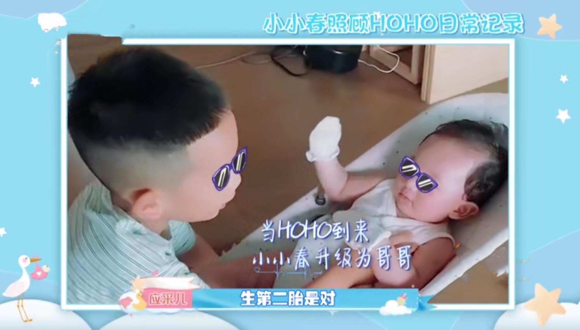 應采兒生二胎畫面曝光,哥哥給弟弟唱歌,HoHo牙牙學語像媽媽