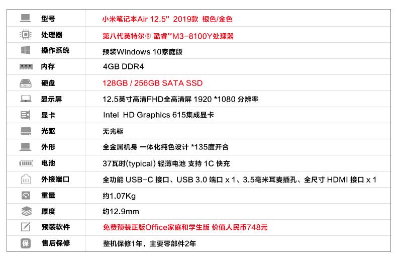 小米手机笔记本Air 12.5 2019款发售,M3-8100YCPU,3599元