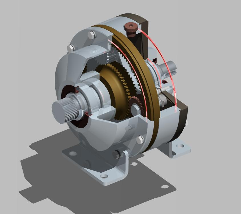 epicyclic reduction行星齿轮减速箱3D图纸 CREO设计 附dwg工程图