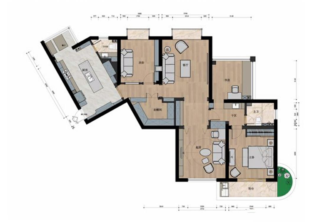 160m²干净简美风,三房两厅改成了两房三厅,色调轻柔不凌乱