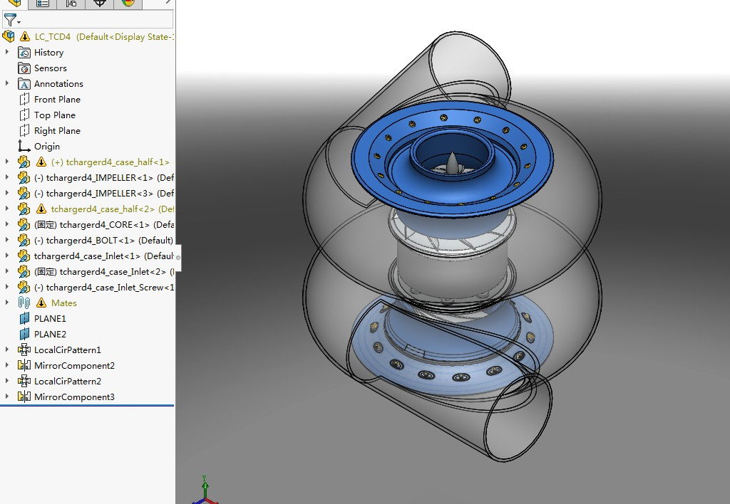LC_TCD4 turbocharger涡轮增压器3D数模图纸 Solidworks设计
