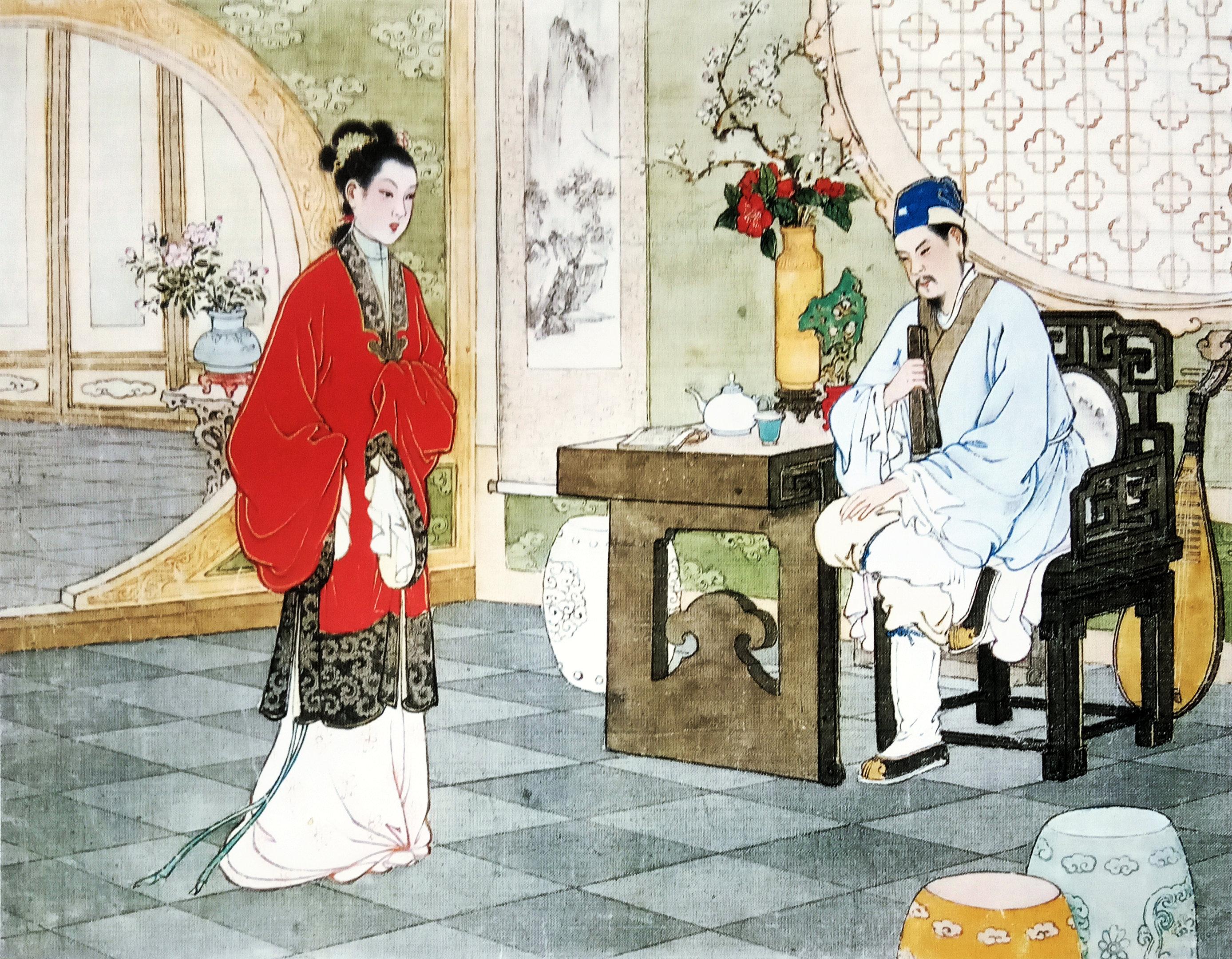 中国现代连环画家任率英的桃花扇图画