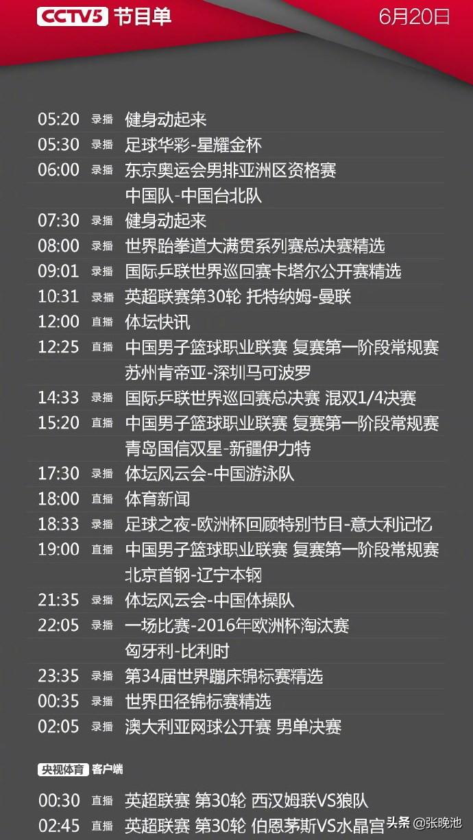 今日央视节目单,CCTV5以及5+共直播5场CBA老例赛,APP直播2场英超