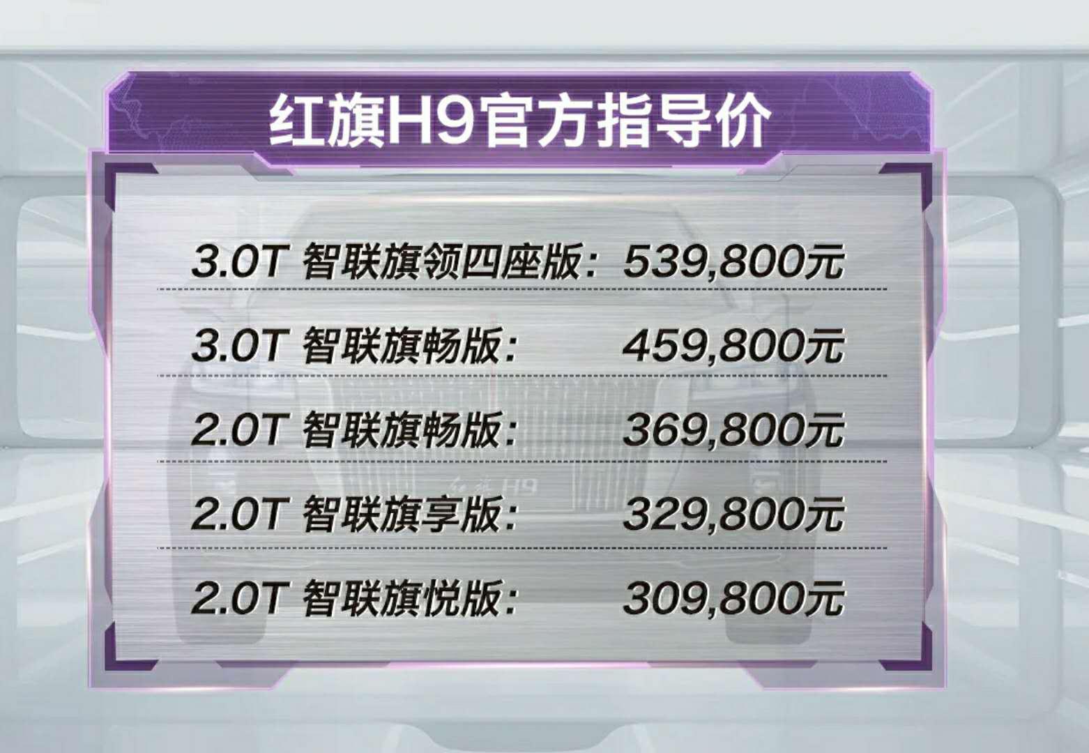 红旗H9正式价格公布,30.98万起,是最恰当也最合理的定价