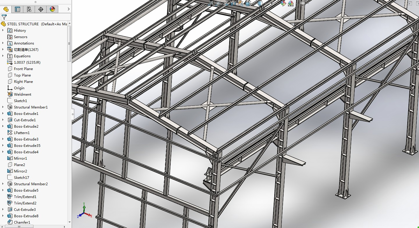 steel structure厂房钢结构3D图纸 Solidworks设计