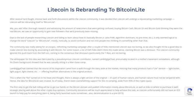 """惊喜还是惊吓?莱特币""""改名""""BitcoinLite"""