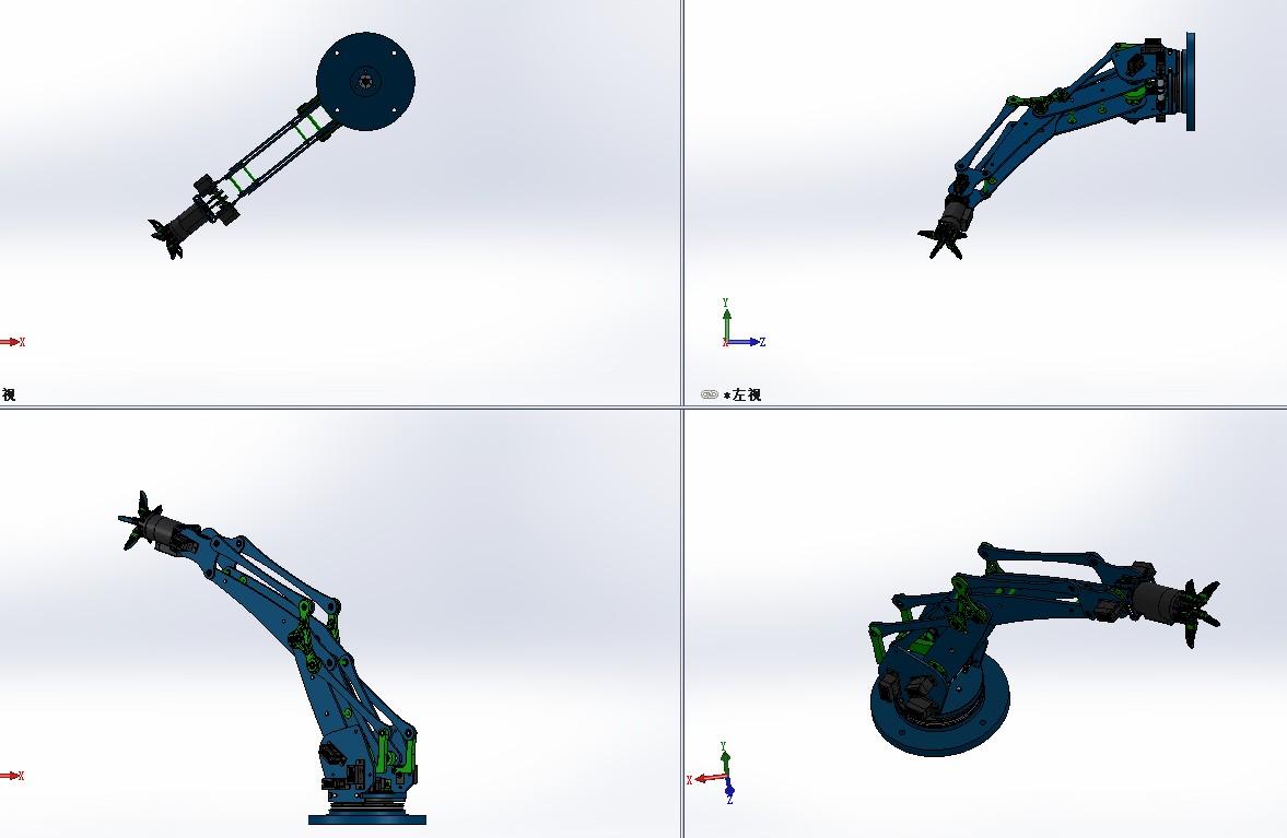 低成本机械臂模型3D图纸 Solidworks设计 附STP IGS